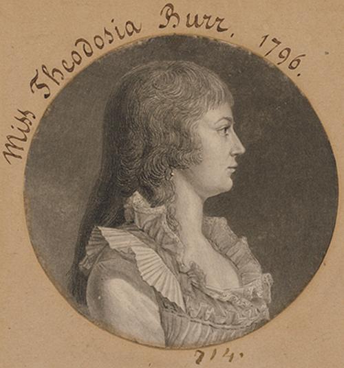 Theodosia Burr Alston 1783–1813, by Charles Balthazar Julien Févret de Saint-Mémin (1770–1852) Engraving, 1796 National Portrait Gallery, Smithsonian Institution